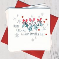 <!-- 018 -->Pack of Five Holly Christmas Cards