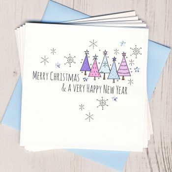 Pack of Five Blue Tree Cards