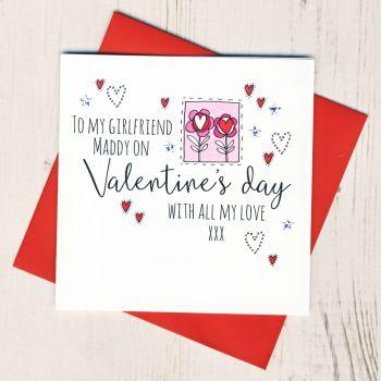 Personalised Girlfriend Valentines Card