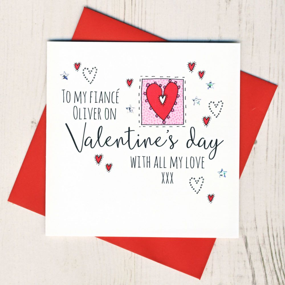 <!-- 011 -->Personalised Fiance Valentines Card