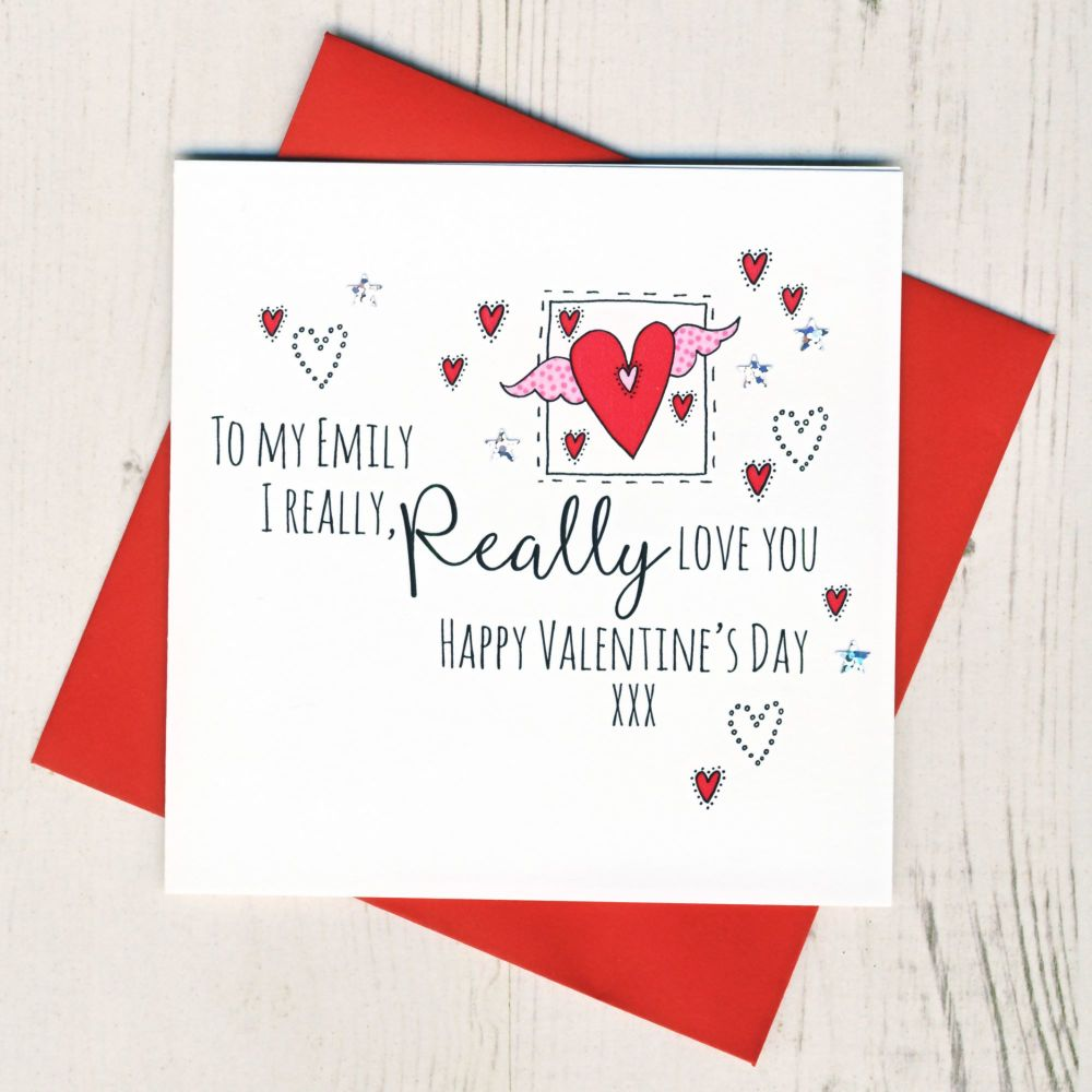 <!-- 015 -->Personalised I Really Love You Valentines Card