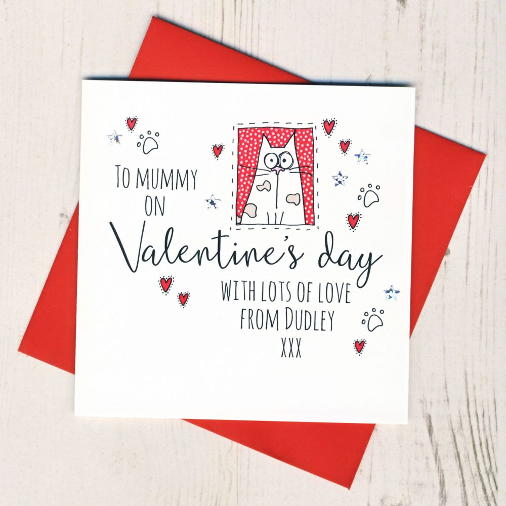 <!-- 023 -->Personalised From The Cat or Cats Valentines Card