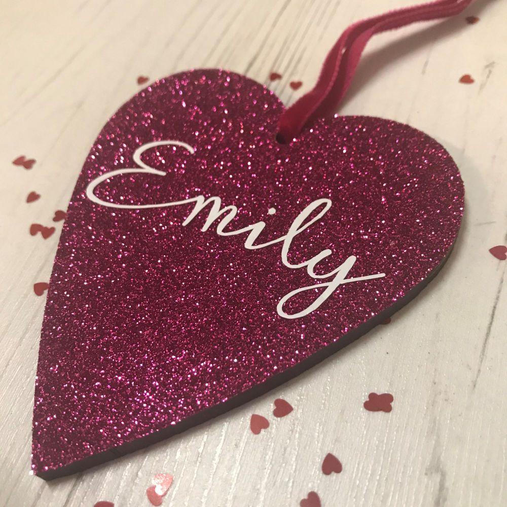 Personalised Name Glittery Heart