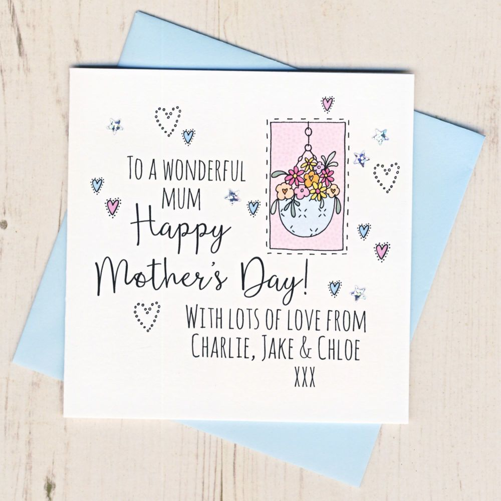 <!-- 001 -->Personalised Mother's Day Hanging Basket Card