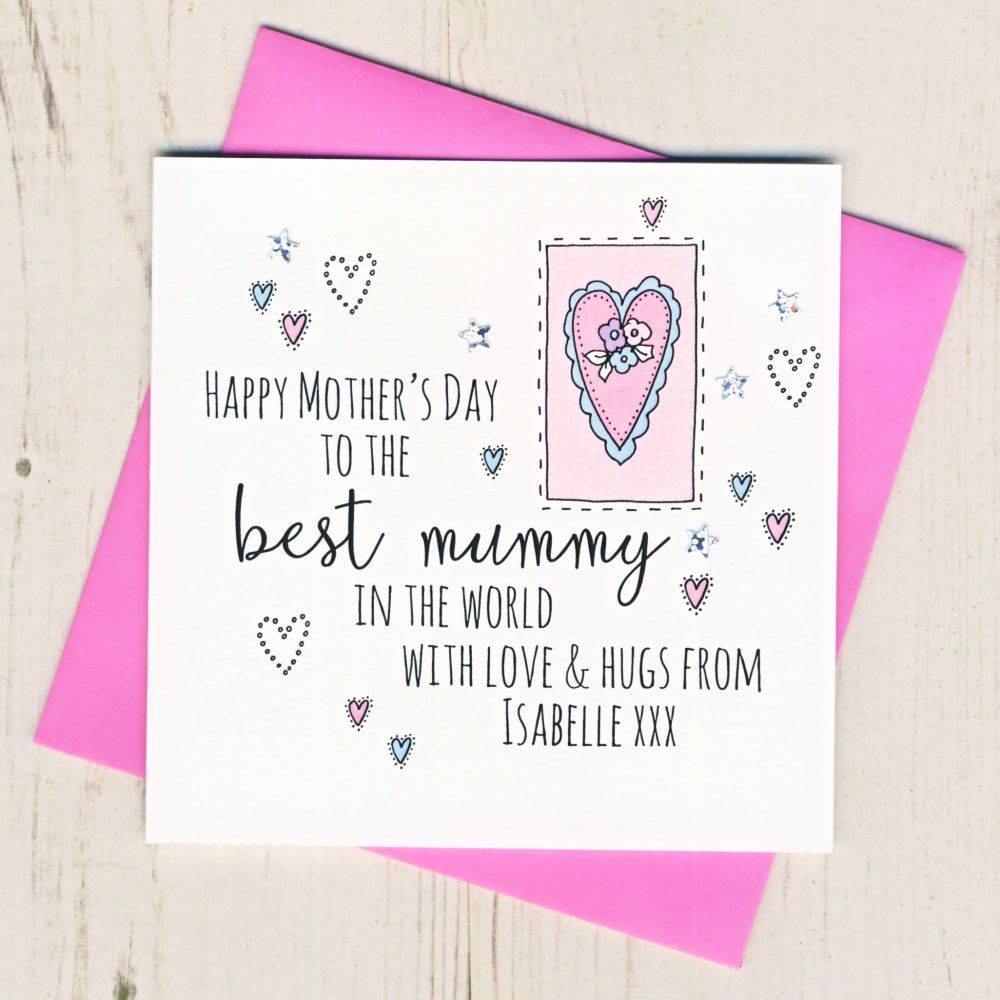 <!-- 001 -->Personalised Mother's Day Mummy Heart Card