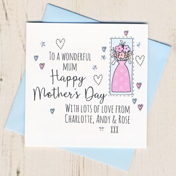 Personalised Mother's Day Vase Card