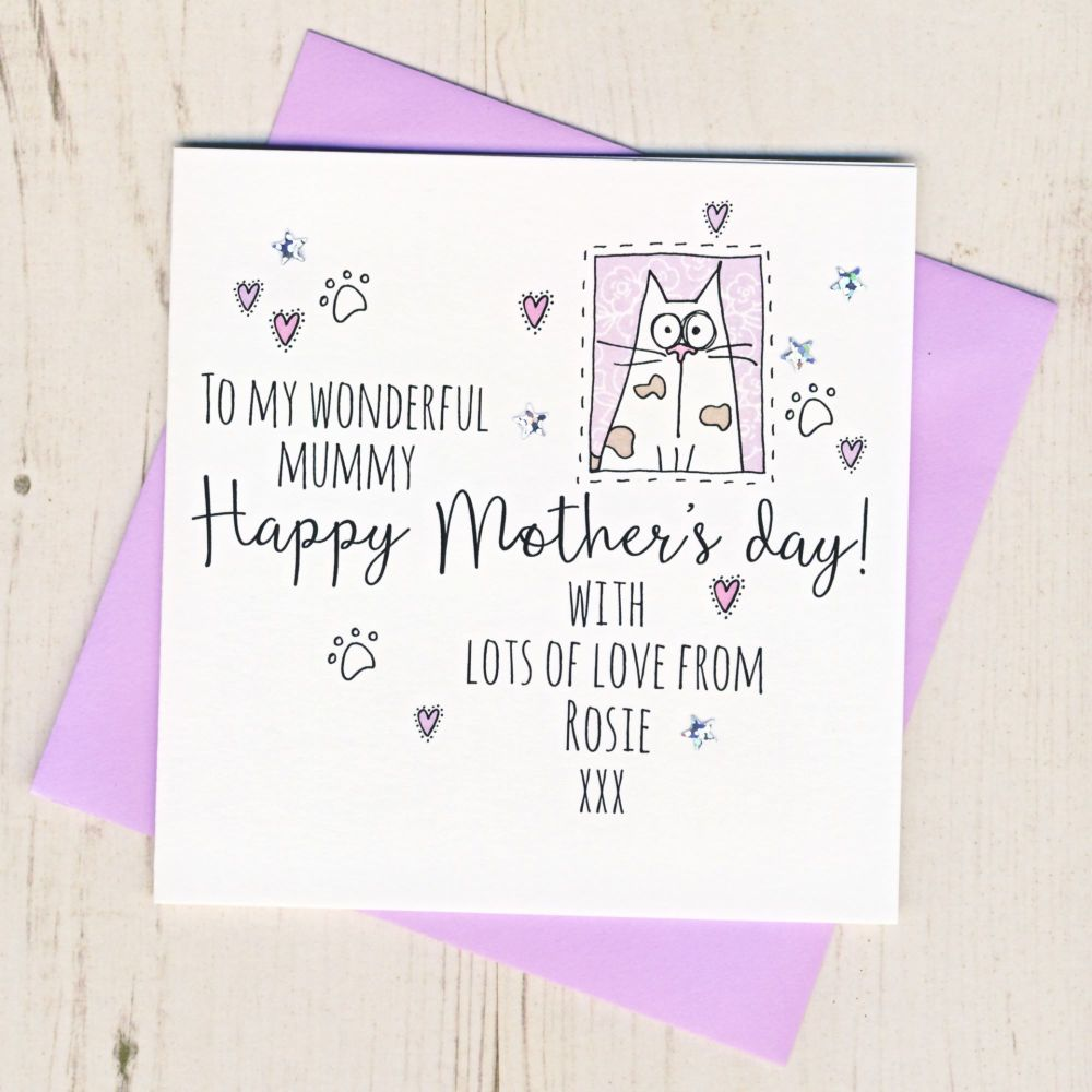 <!-- 002 -->Personalised Mother's Day Card From The Cat