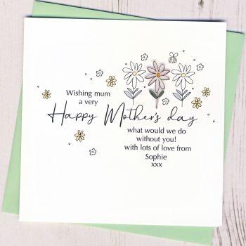 Personalised Daisy Mother's Day Card