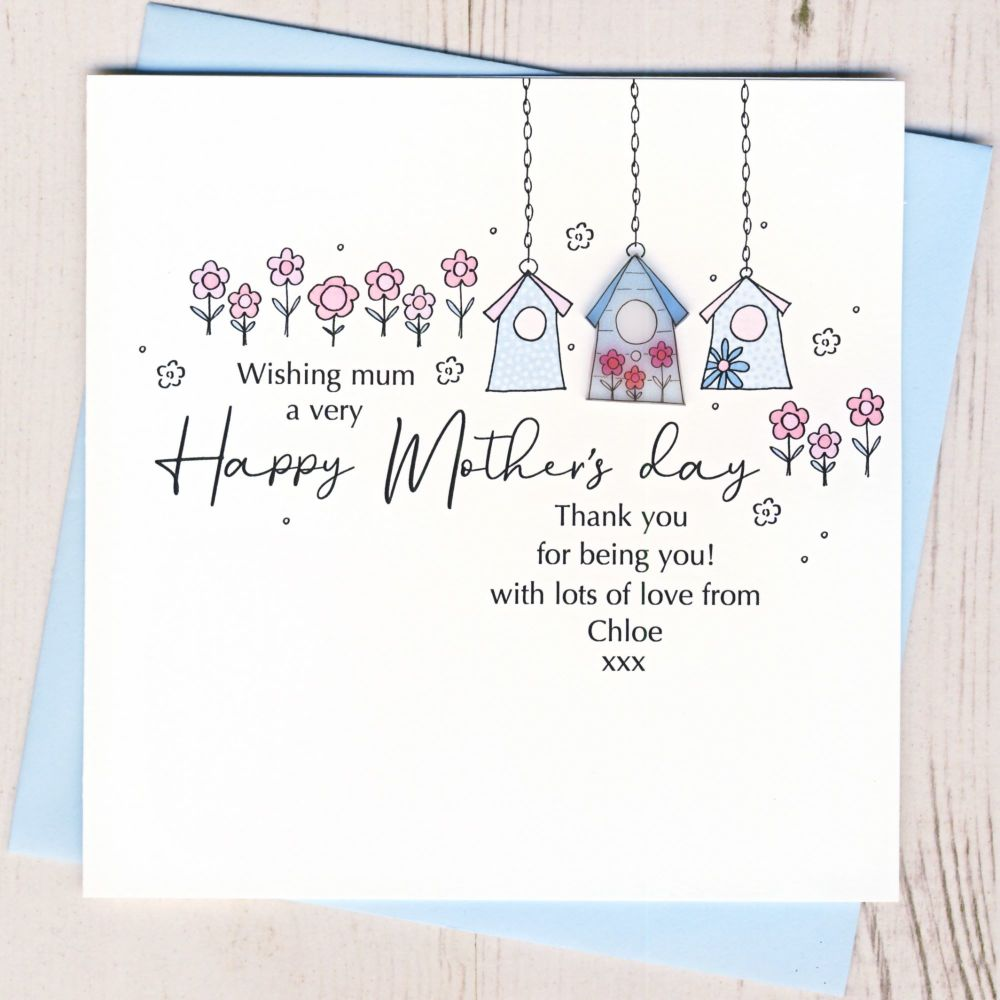 <!-- 001-->Personalised Mother's Day Birdhouse Card