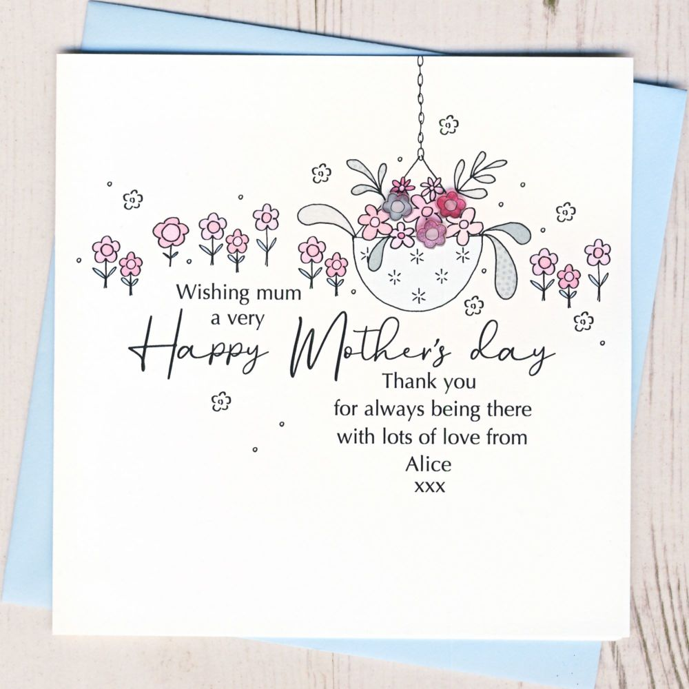 <!-- 001-->Personalised Mother's Day Hanging Basket Card
