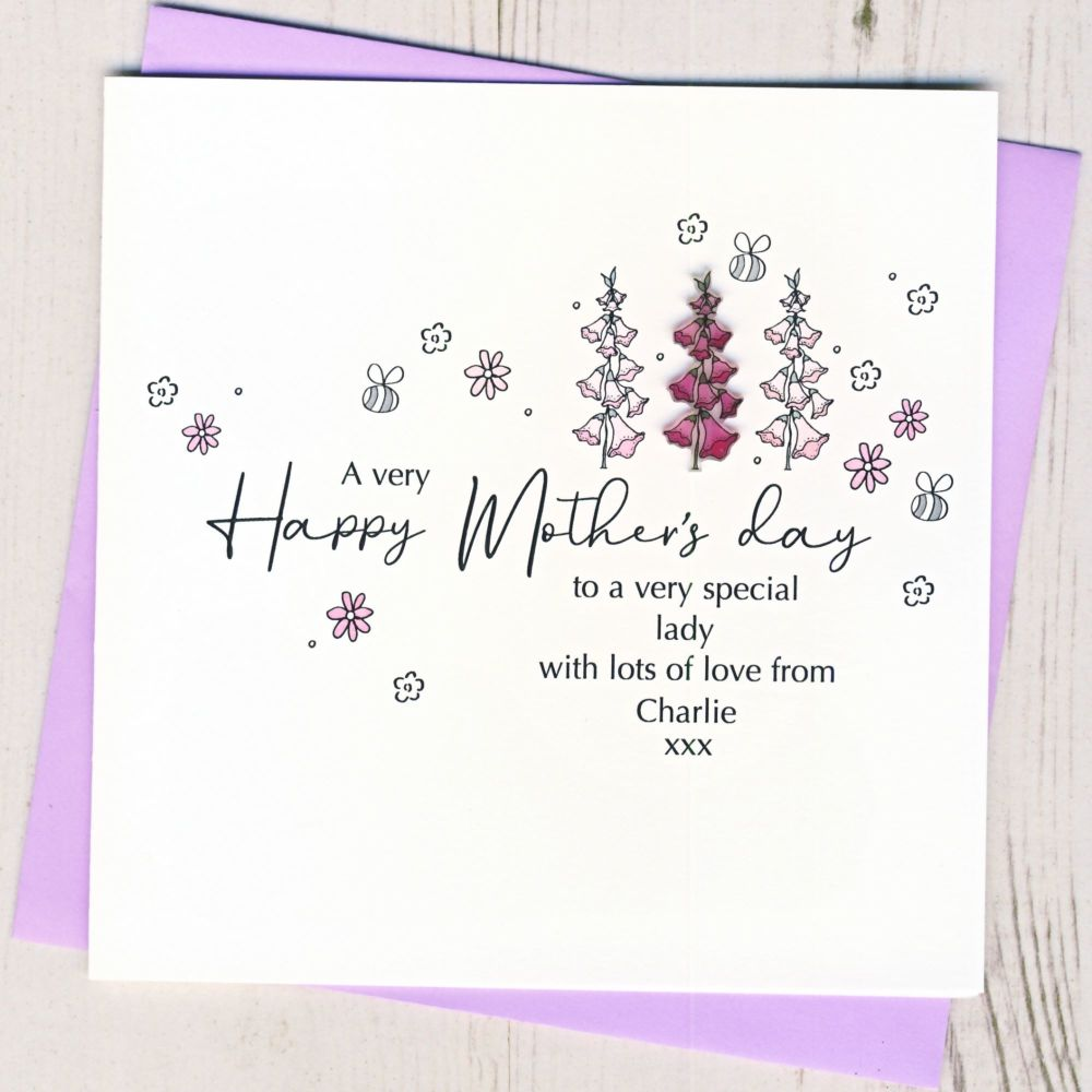 <!-- 001-->Personalised Mother's Day Foxglove Card