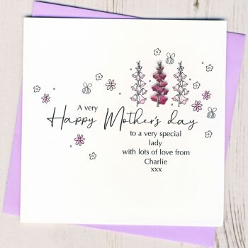 Personalised Mother's Day Foxglove Card
