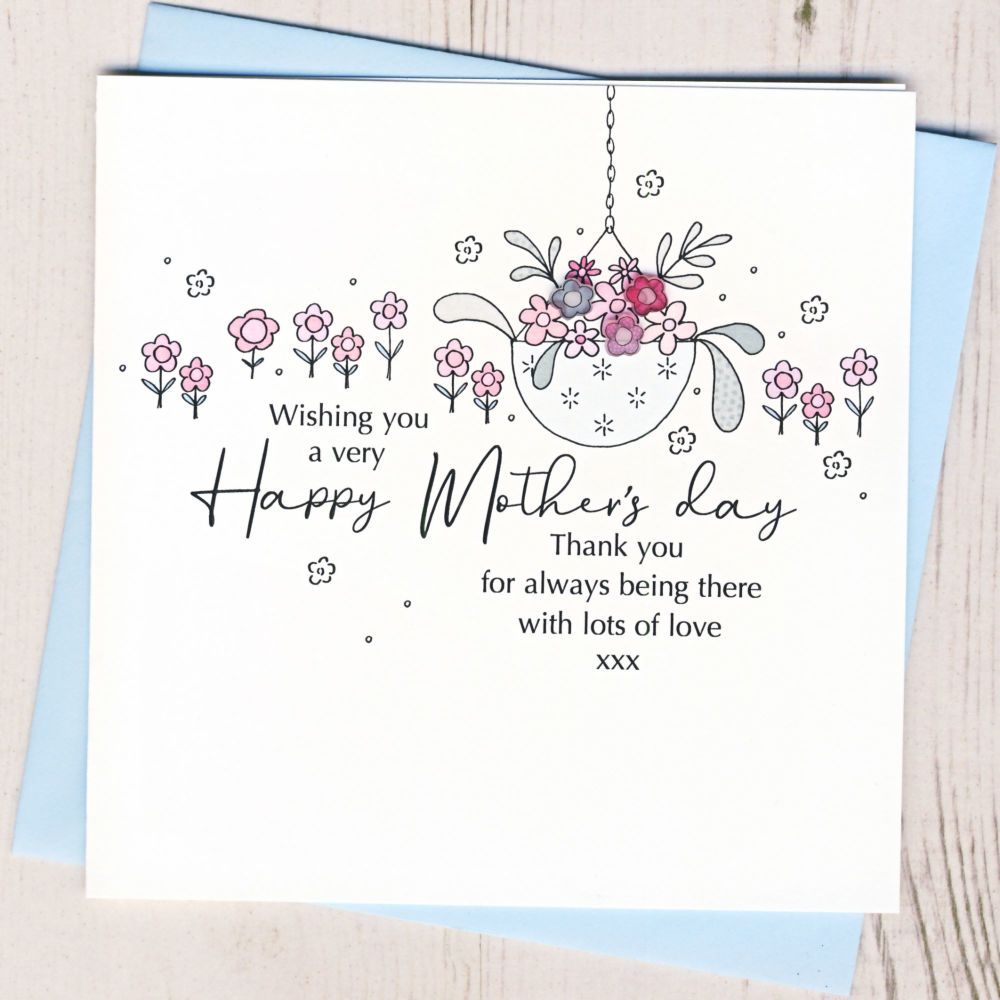 <!-- 001--> Mother's Day Hanging Basket Card