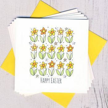 Pack of Five Easter Daffodil Cards