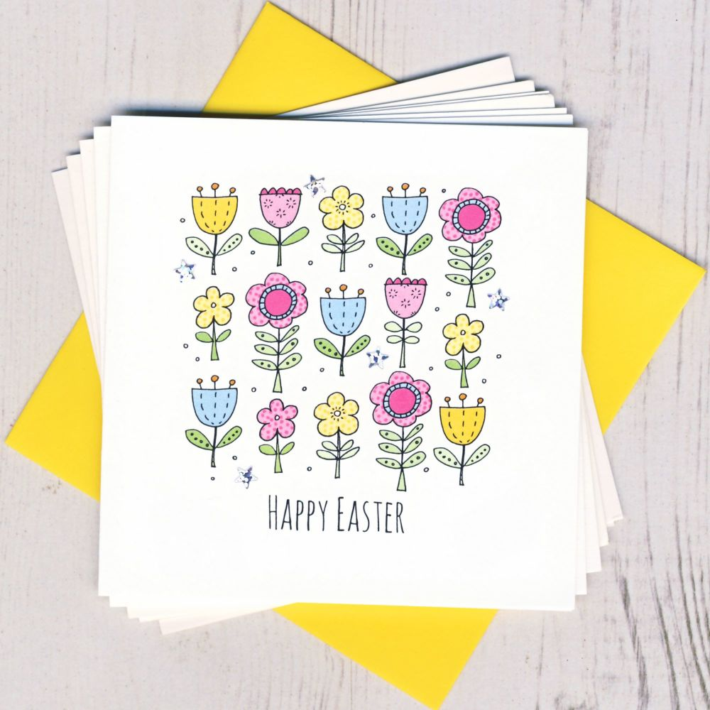 <!-- 002 -->Pack of Five Easter Flowers Cards