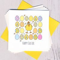 <!-- 003 -->Pack of Five Easter Chick & Eggs Cards