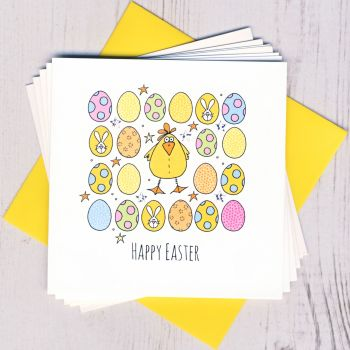 Pack of Five Easter Chick & Eggs Cards