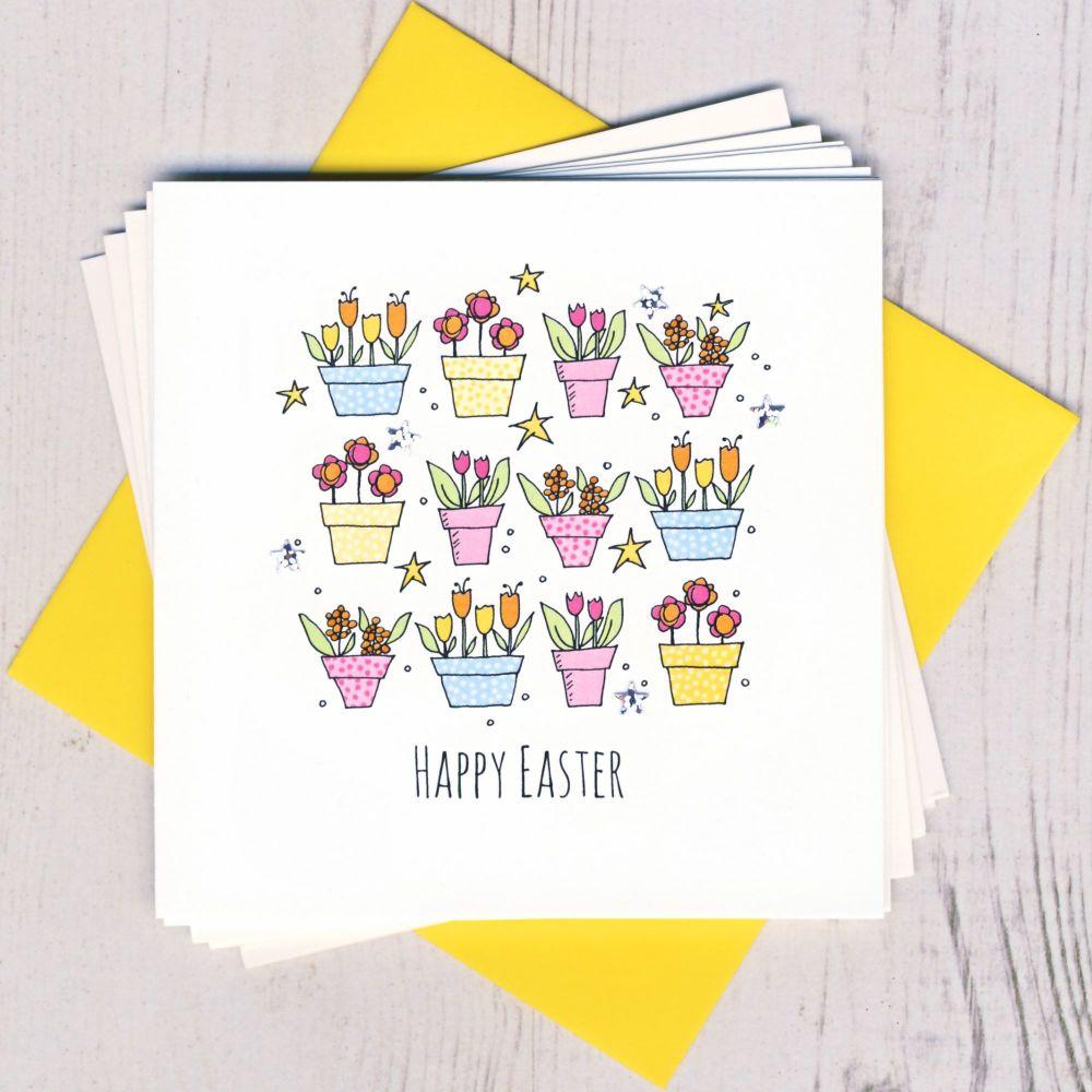 <!-- 004 -->Pack of Five Easter Flower Pot Cards