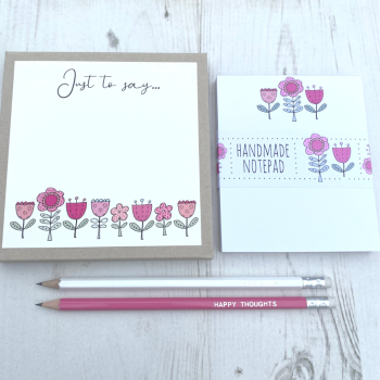 Pink Flowers Stationery Gift Box