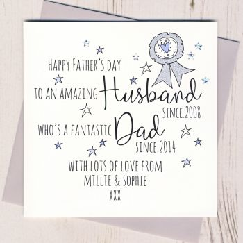 Personalised Husband And Dad Father's Day Card