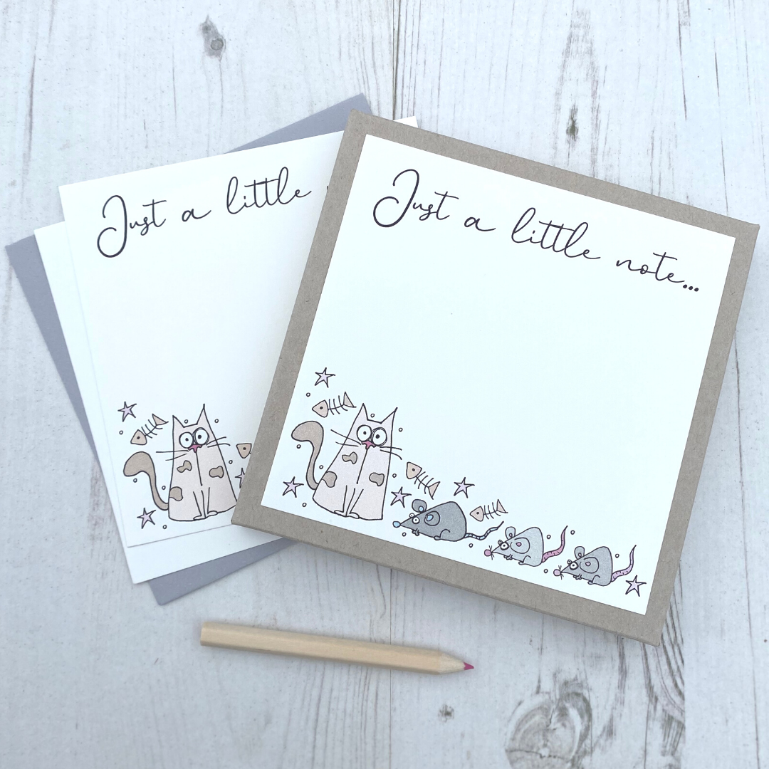 <!-- 007 -->Box of 12 Cat  Notecards