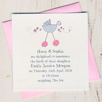 <!-- 001 -->Pack of Baby Girl Birth Announcement Cards