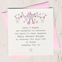 <!-- 001 --> Pack of Baby Girl Birth Announcement Cards
