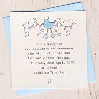 <!-- 001 --> Pack of Baby Boy Birth Announcement Cards