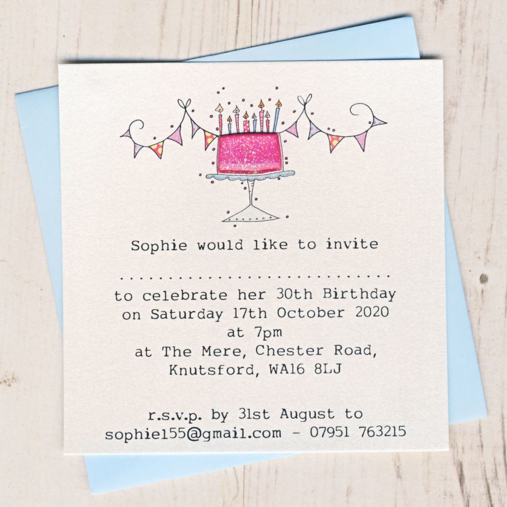 Pack of Birthday Cake Invitations