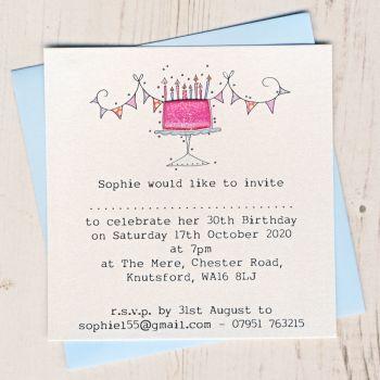 Pack of Birthday Cake Invitations