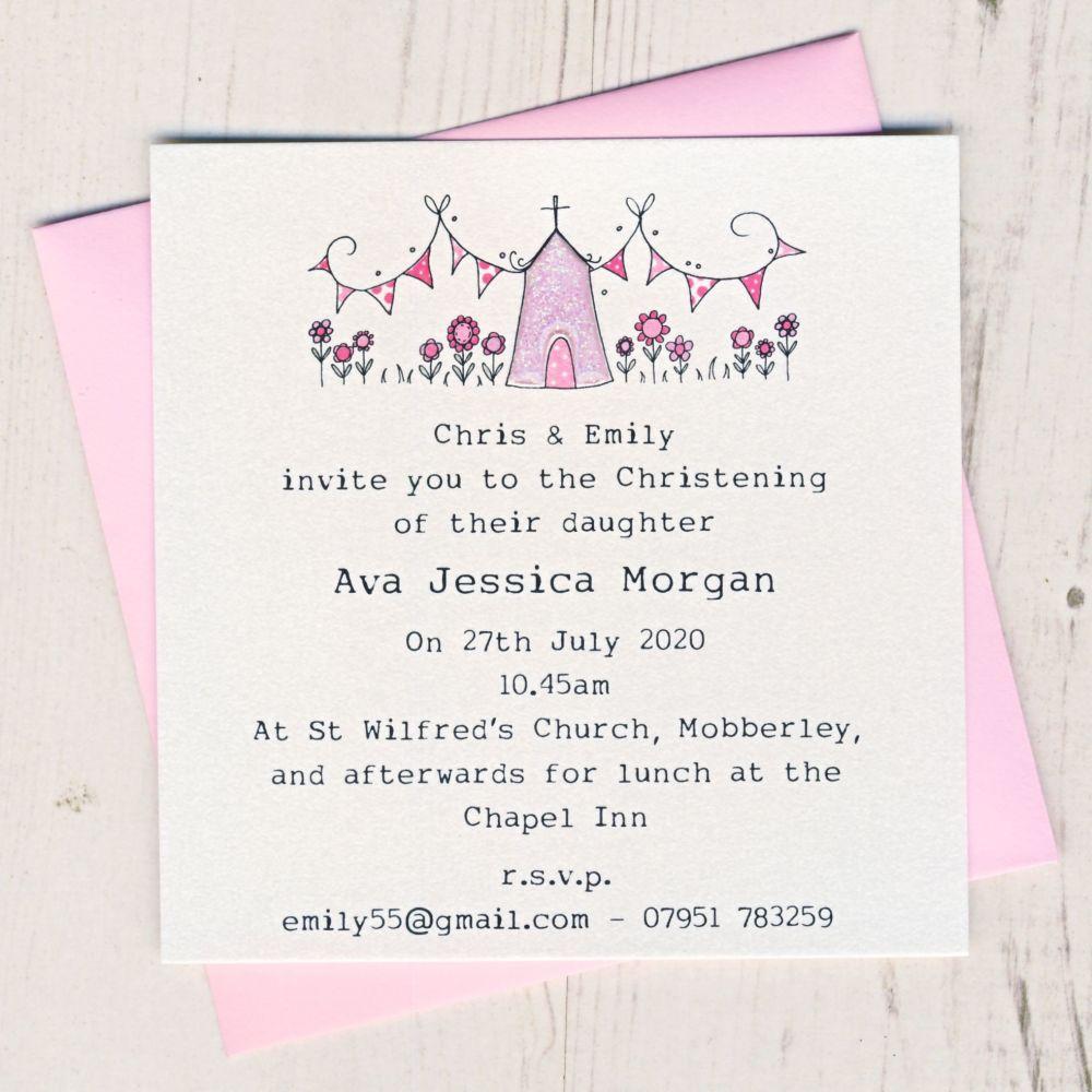 Pack of Girl's Christening Invitations
