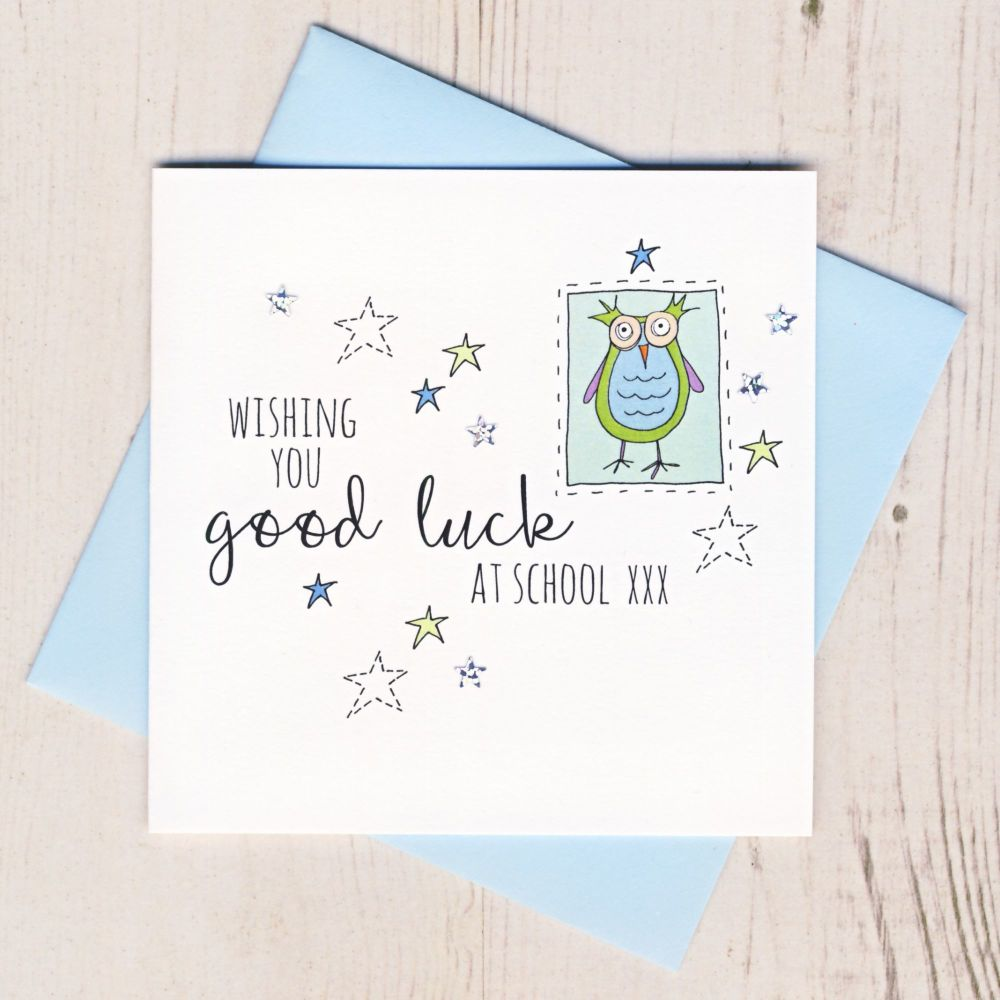 <!-- 002 -->Blue Owl Good Luck At School Card