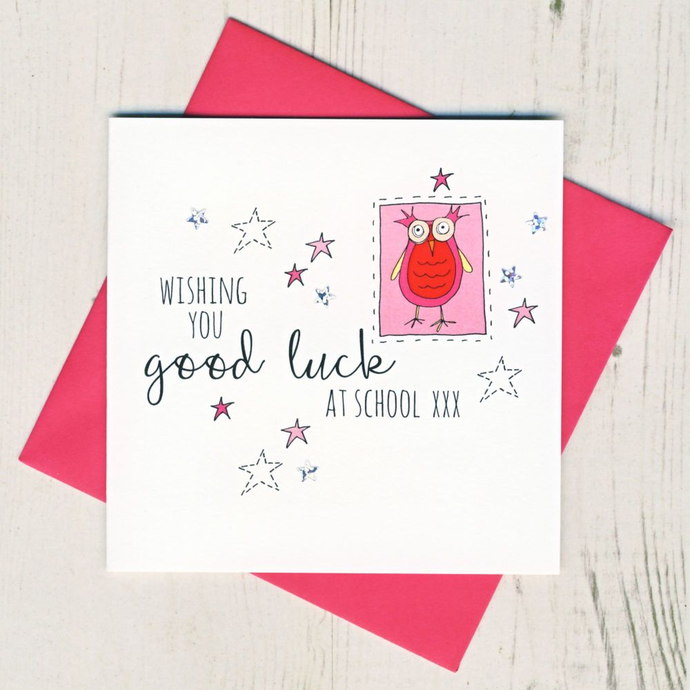 <!-- 002 -->Pink Owl Good Luck At School Card