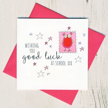 Pink Owl Good Luck At School Card