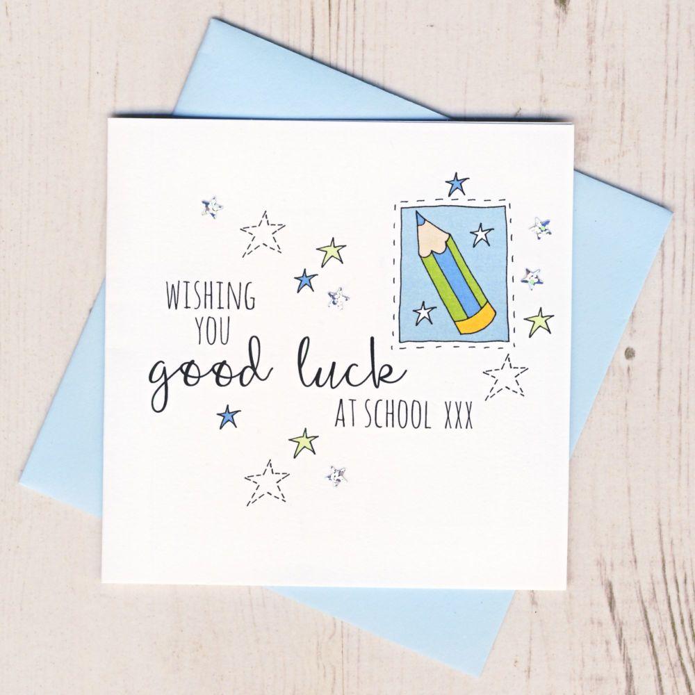<!-- 003 -->Blue Pencil Good Luck At School Card