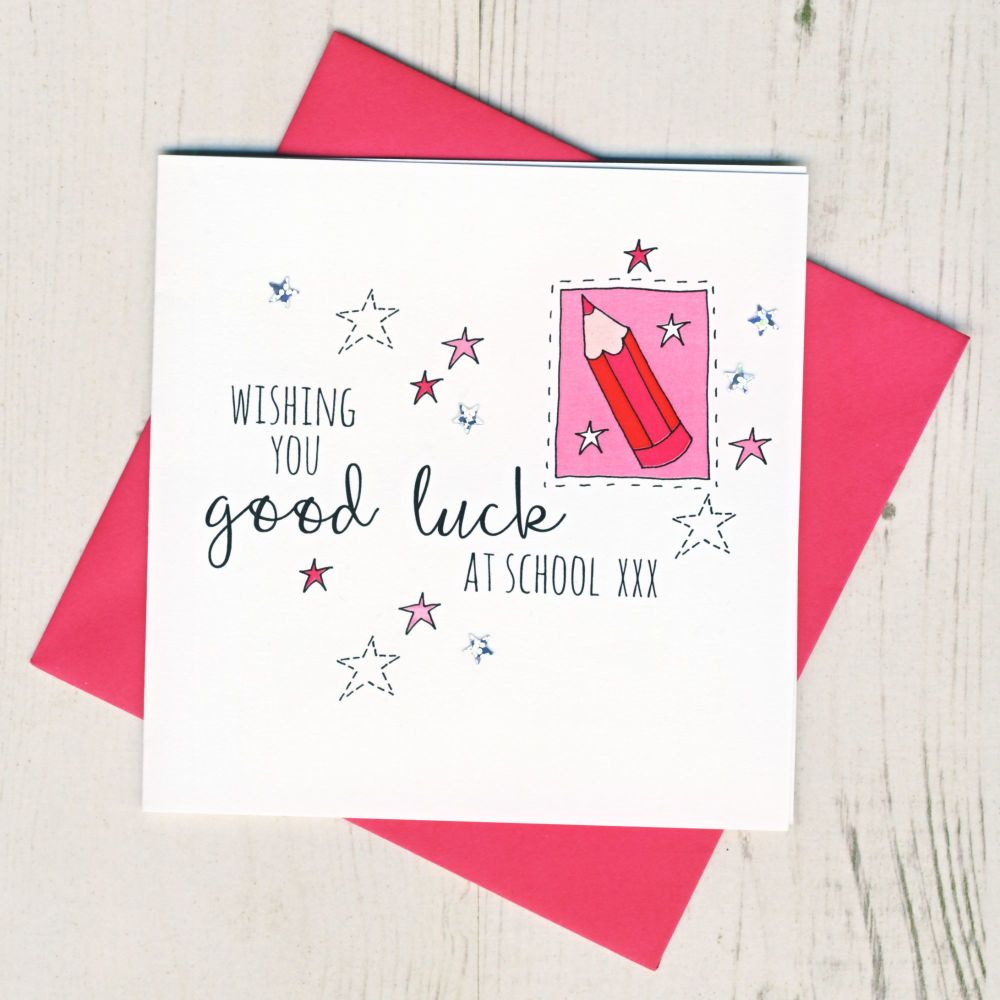 <!-- 003 -->Pink Pencil Good Luck At School Card