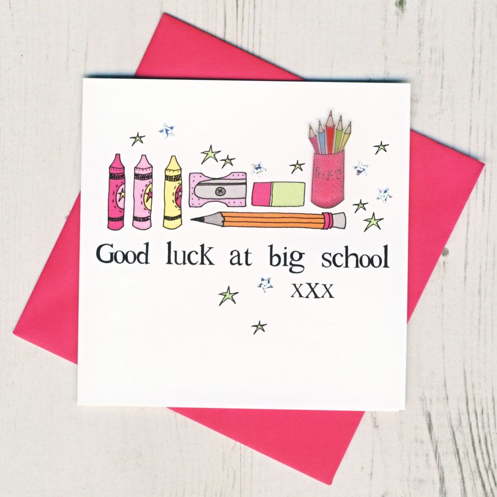 <!-- 005 -->Pink Pencils Good Luck At Big School Card