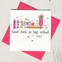 <!-- 005 -->Pink Pencils Good Luck At Big School Card