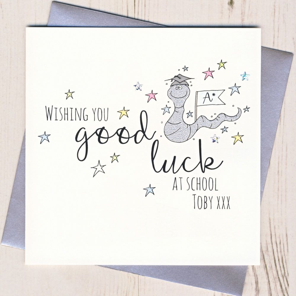 <!-- 001 -->Pearsonalised Bee Good Luck At School Card