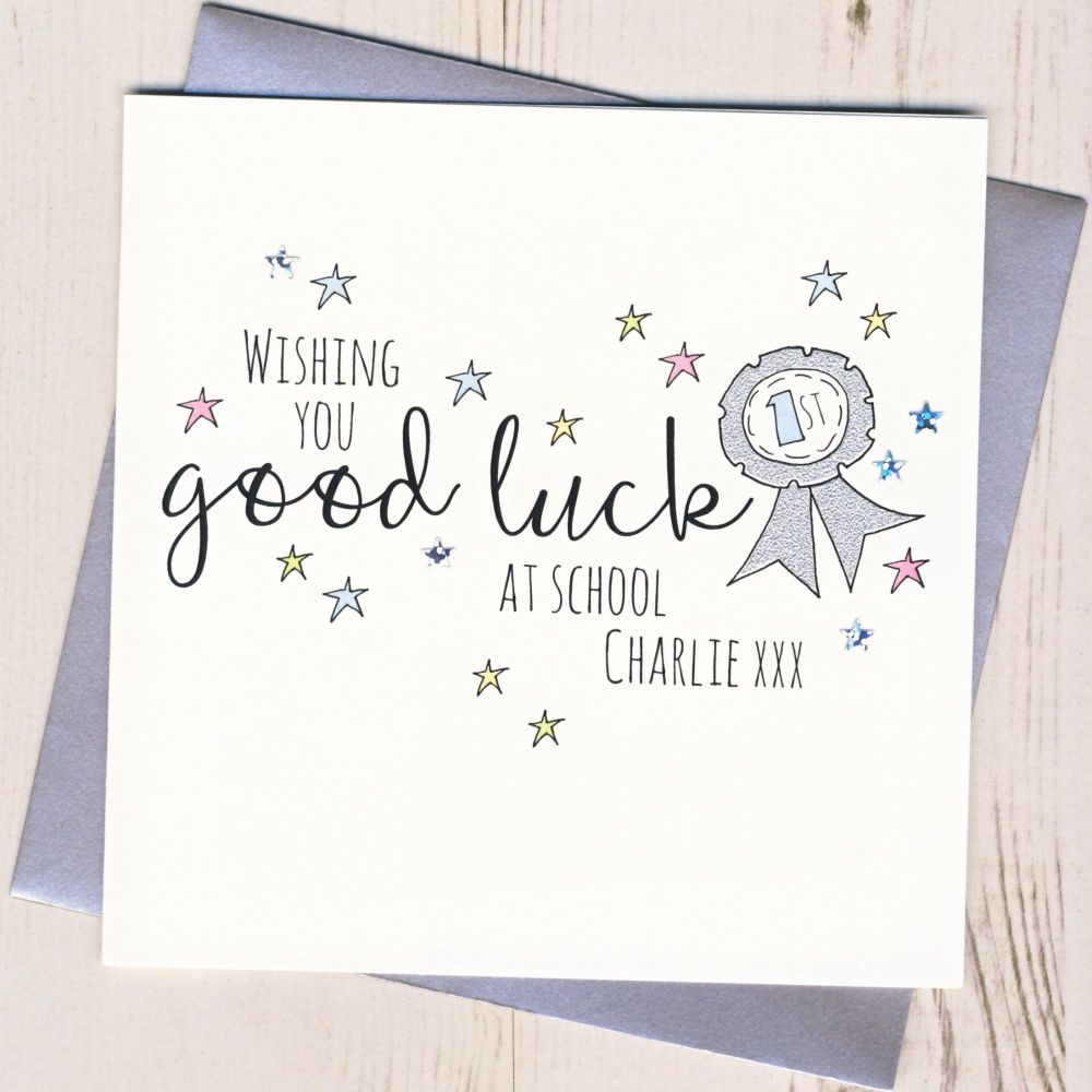 <!-- 001 -->Personalised Rosette Good Luck At School Card