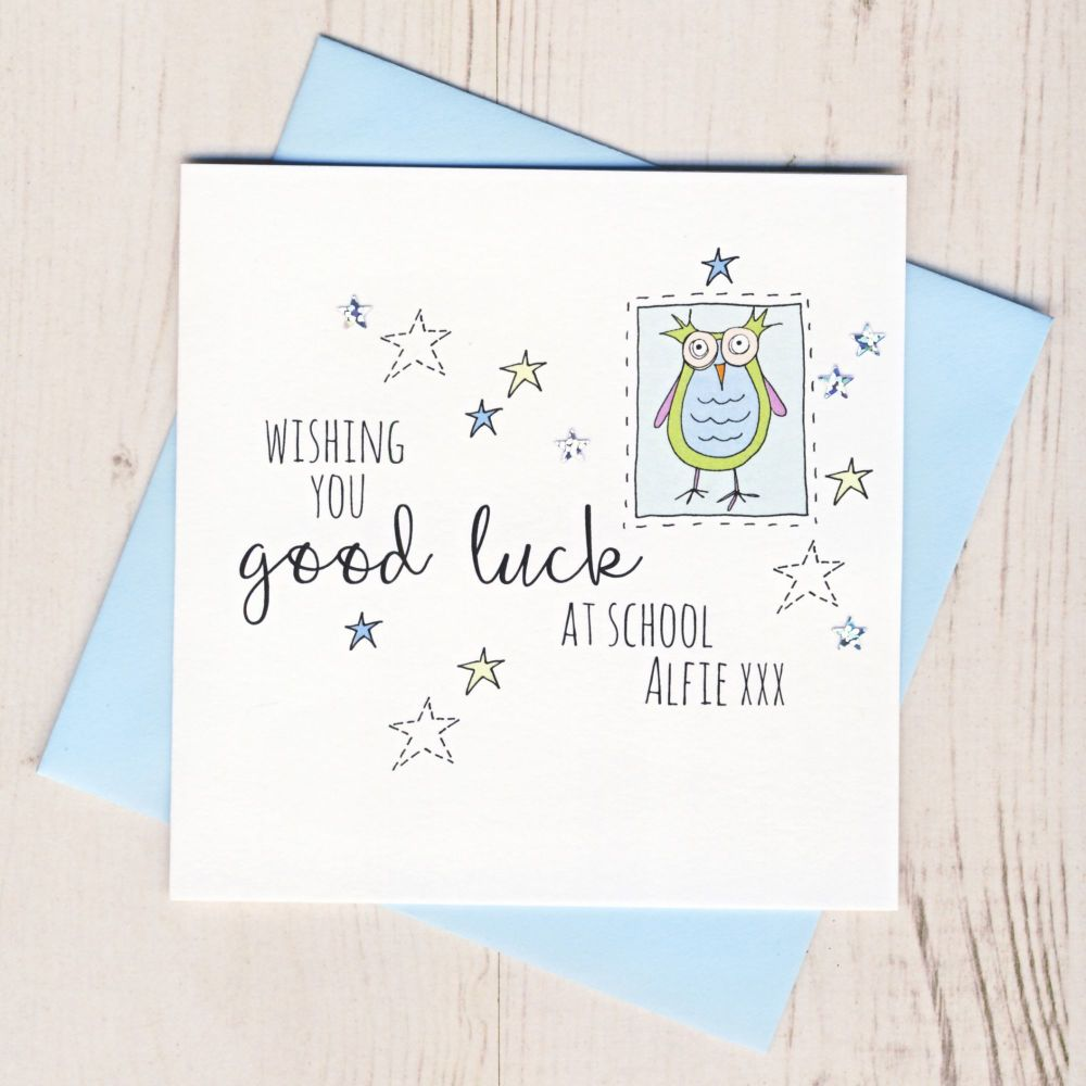 <!-- 002 -->Personalised Blue Owl Good Luck At School Card
