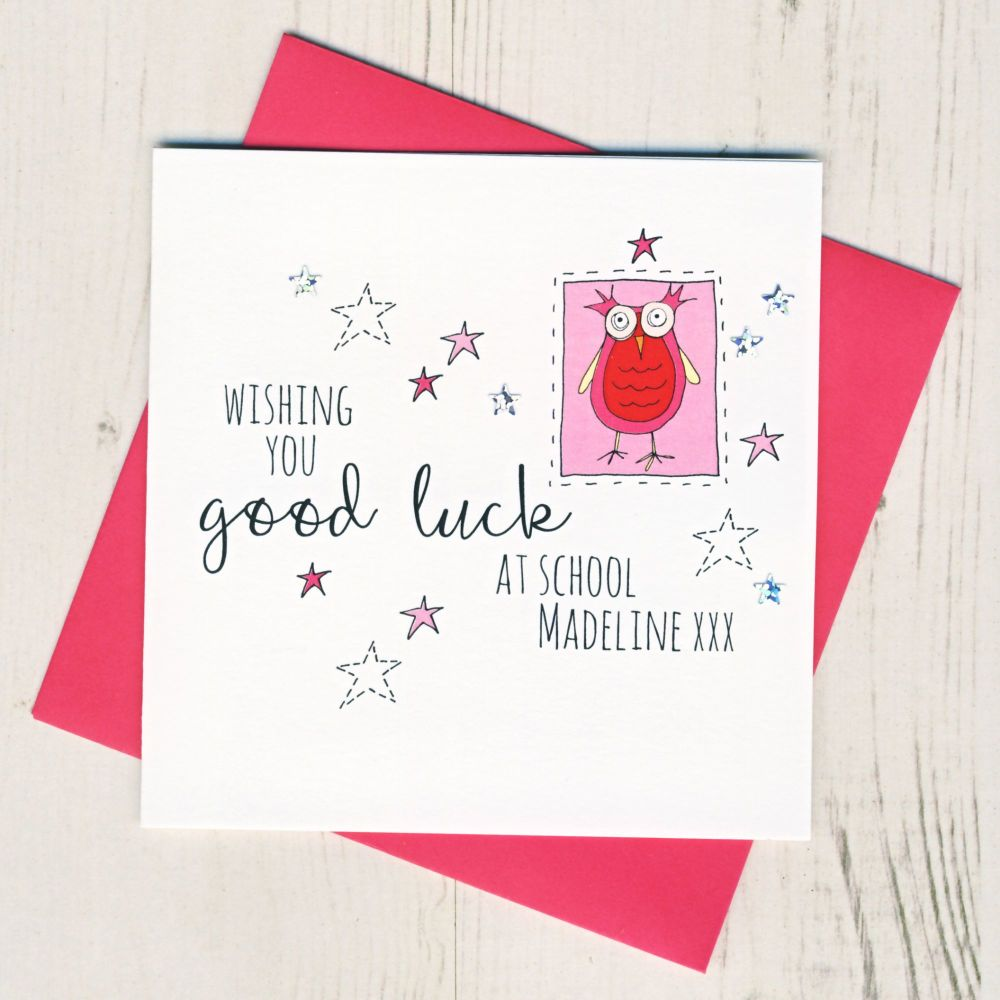 <!-- 002 -->Personalised Pink Owl Good Luck At School Card