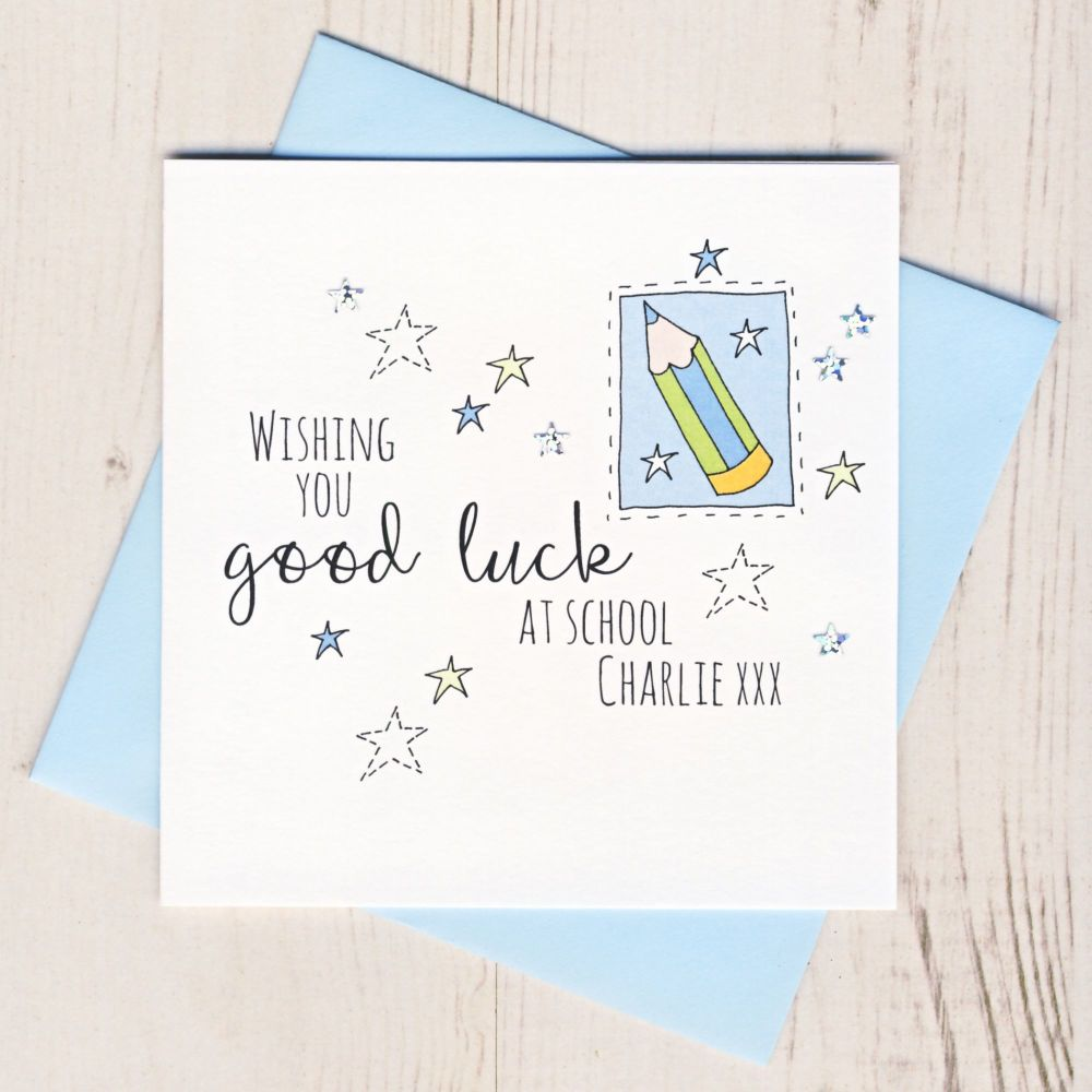 <!-- 003 -->Personalised Blue Pencil Good Luck At School Card