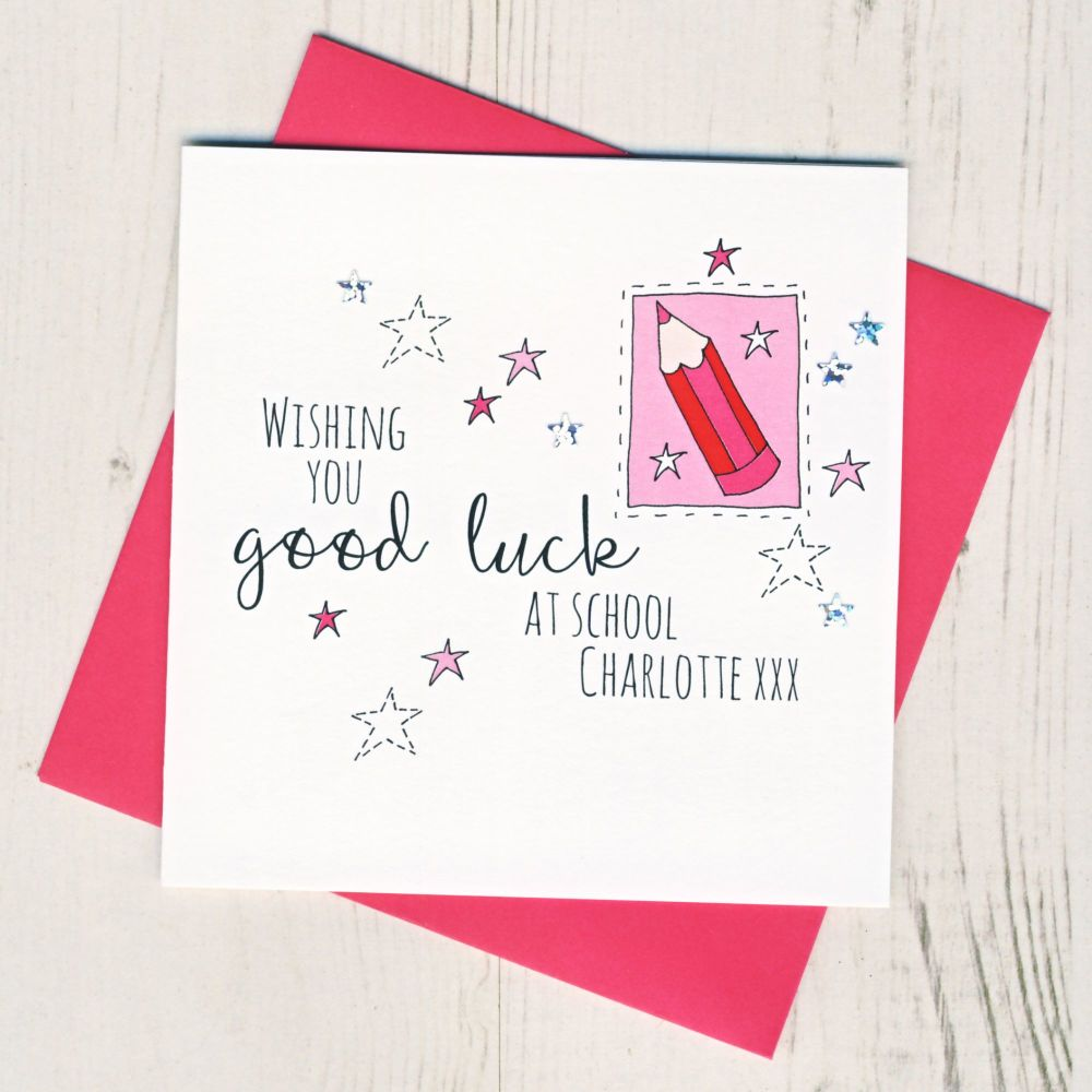<!-- 003 -->Personalised Pink Pencil Good Luck At School Card