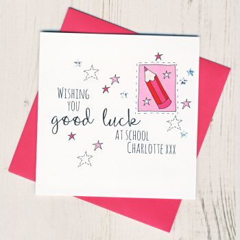 Personalised Pink Pencil Good Luck At School Card