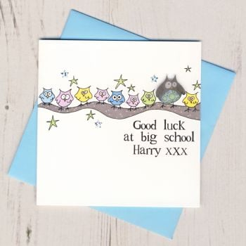 Personalised Blue Owl Good Luck At Big School Card