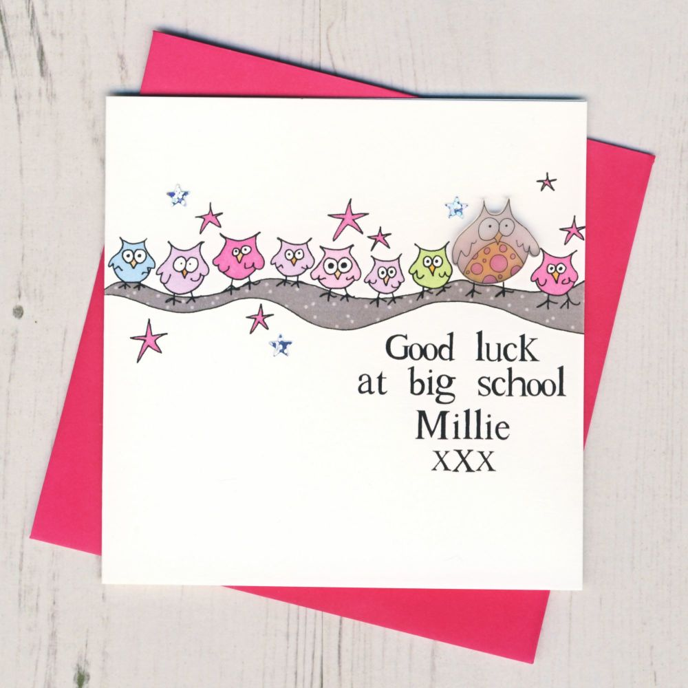 <!-- 004 -->Personalised Pink Owl Good Luck At Big School Card
