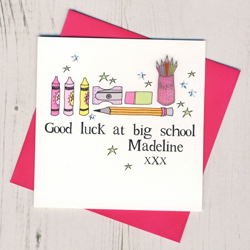 <!-- 005 -->Personalised Pink Pencils Good Luck At Big School Card