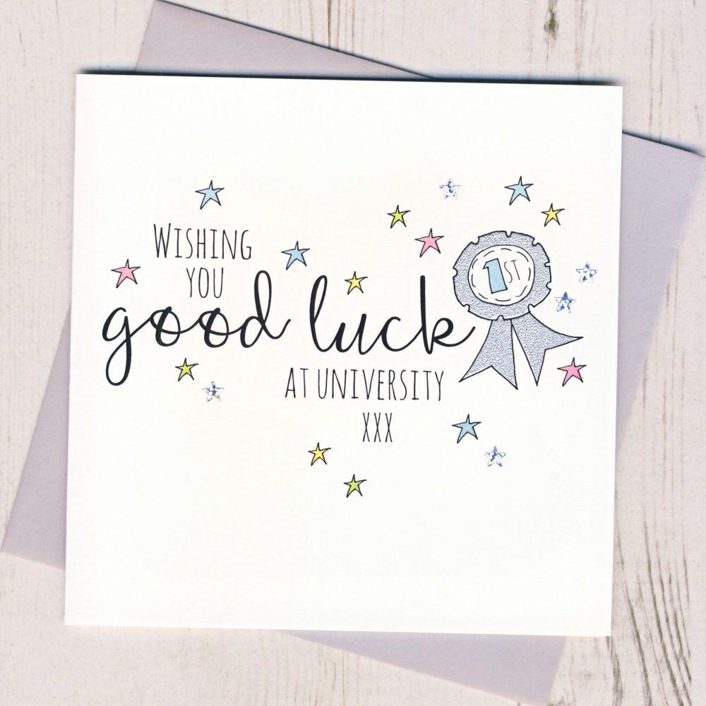 <!-- 001 -->Rosette Good Luck At University Card