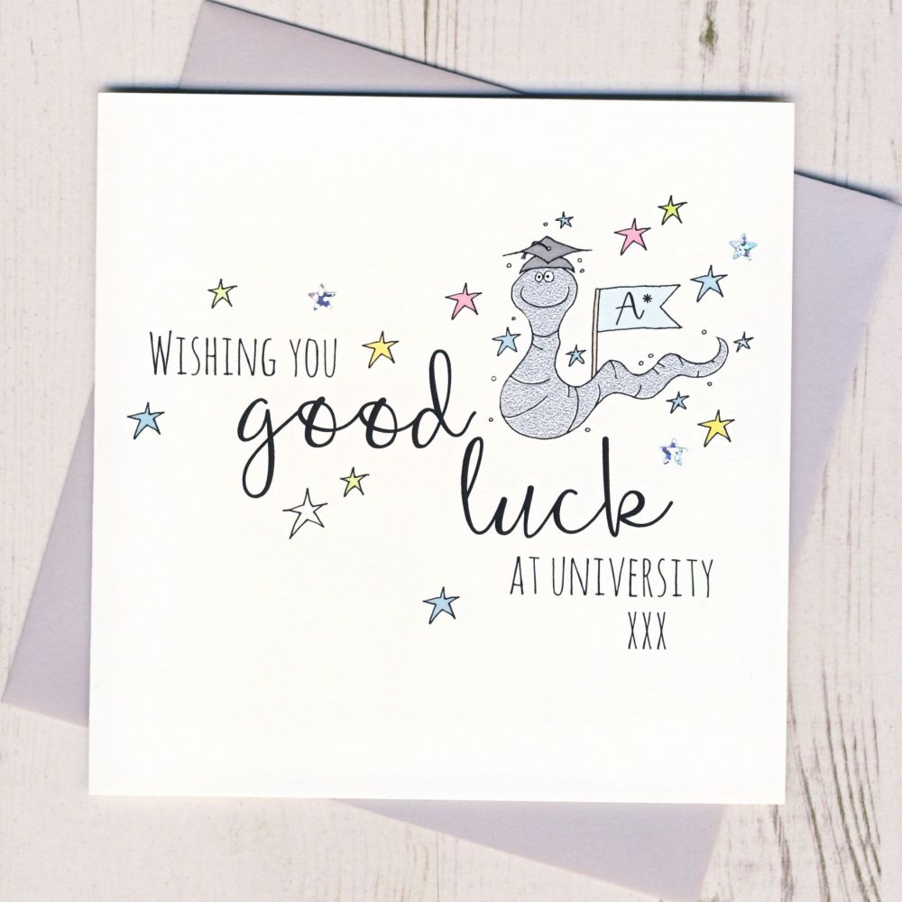 <!-- 001 -->Worm Good Luck At University Card